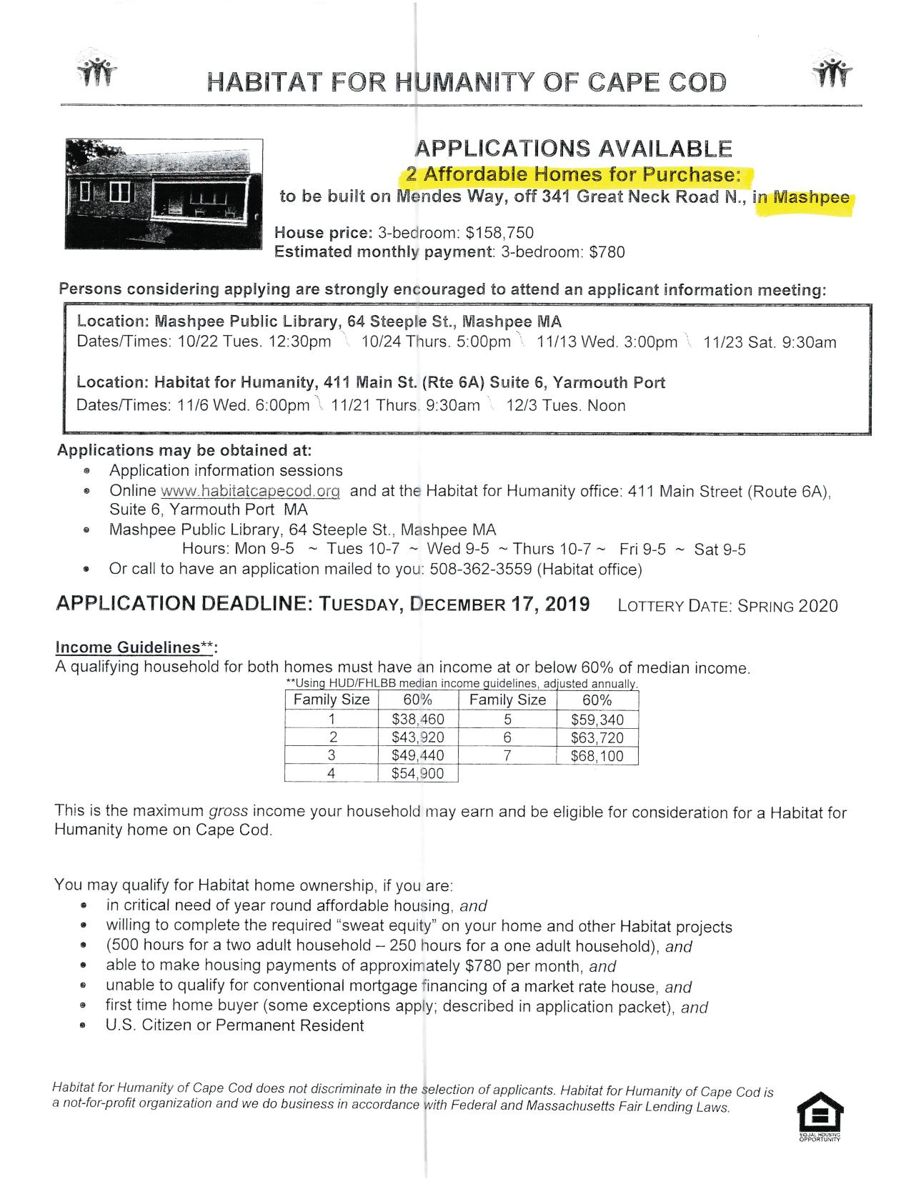 Habitat Affordable Housing APPLY NOW