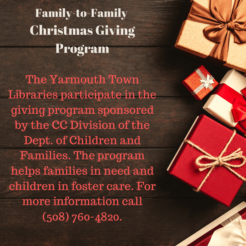 Give a gift to a child in foster care; call library for details